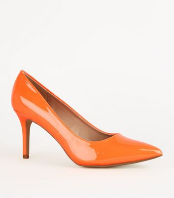 Orange Patent Pointed Court Shoes