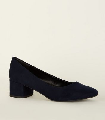 Navy Suedette Low Block Heel Courts
