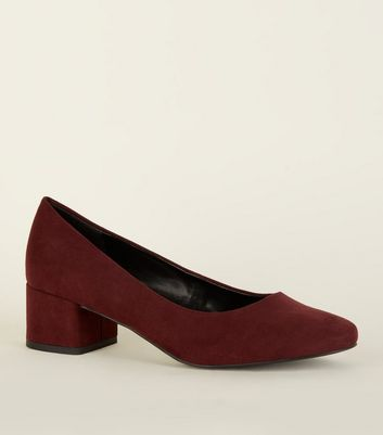 Dark Red Suedette Low Block Heel Courts by New Look