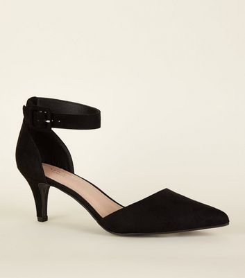 Black Comfort Flex Kitten Heel Pointed Court Shoes