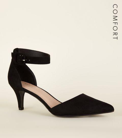 52121e05507 ... Black Comfort Flex Kitten Heel Pointed Court Shoes ...