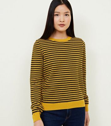 Mustard Geometric Stripe Jumper