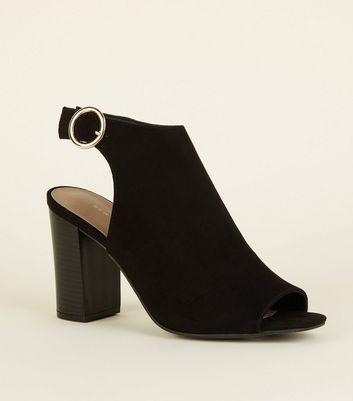 Black Suedette Peep Toe Heels   New Look