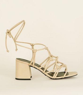 Cream Knot Strap Ankle Tie Heeled Sandals