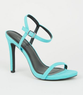 Turquoise Barely There Stiletto Sandals
