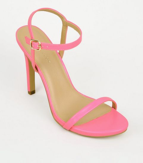 83dfc3d39b4 ... Pink Neon Patent Barely There Stilettos ...
