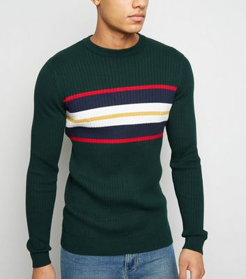 Green Block Stripe Muscle Fit Jumper