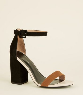 Black Colour-Block 2 Part Heeled Sandals