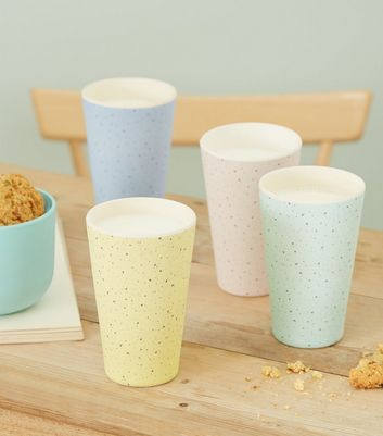 4 Pack Multicoloured Speckled Bamboo Effect Cups