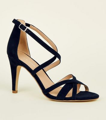 Navy Suedette Strappy Stiletto Heeled Sandals