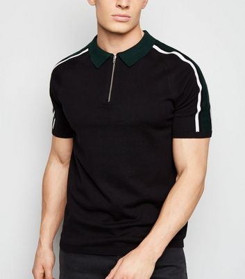 Black 1/2 Zip Fine Knit Polo Shirt