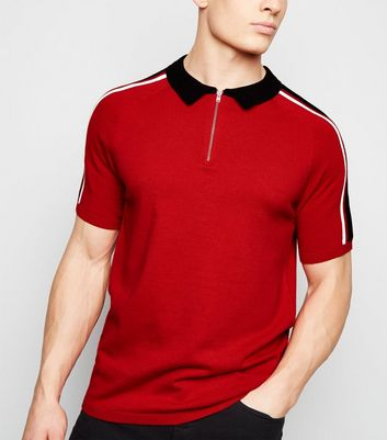 Red 1/2 Zip Fine Knit Polo Shirt
