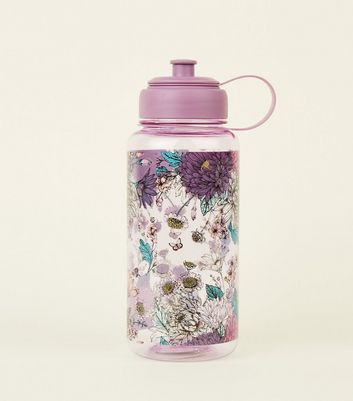 Lilac Floral Print 1 Litre Water Bottle