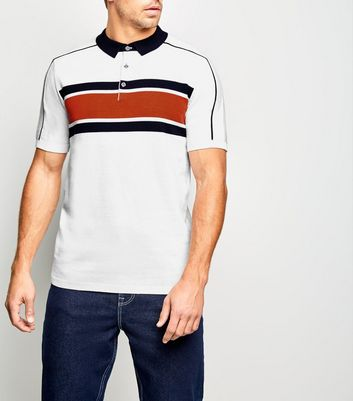 White Block Stripe Knit Polo Shirt