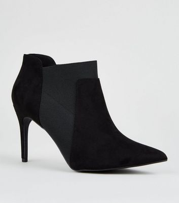 Black Suedette Stiletto Chelsea Shoe Boots