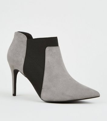 Grey Suedette Stiletto Chelsea Shoe Boots