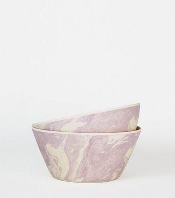 Lilac Bamboo and Marble Effect Bowl
