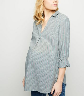 Maternity Light Grey Stripe Overhead Shirt