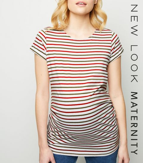 965624f3ef8 ... Maternity Green Stripe Short Sleeve T-Shirt ...