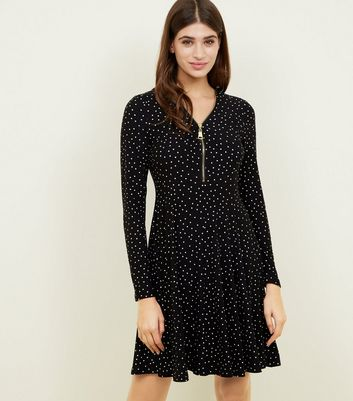Black Spot Print Soft Touch Jersey Zip-Up Swing Dress