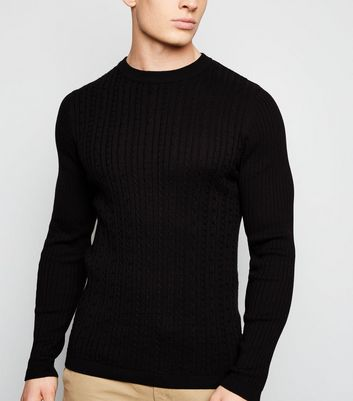Black Long Sleeve Cable Knit Jumper