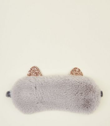 Pale Grey Fluffy Cat Sleep Mask