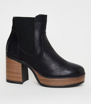 Black Leather-Look Platform Wooden Sole Ankle Boots
