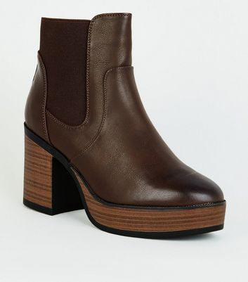 Rust Leather-Look Platform Wooden Sole Ankle Boots