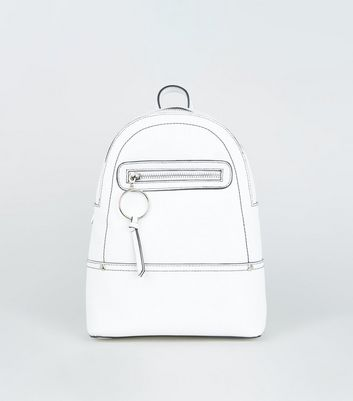 White Ring Zip Utility Mini Backpack
