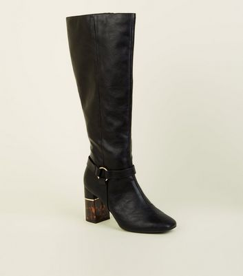 Black 1/2 Tortoiseshell Block Heel Knee High Boots