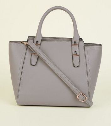 Grey Handle Top Cross Body Bag