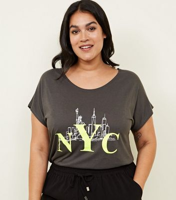 Curves Dark Grey Fluorescent NYC Print T-Shirt