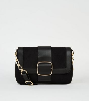 Black Suedette Buckle Front Shoulder Bag