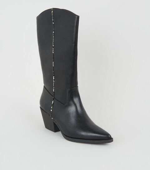 c958d322e46da ... Bottes hauteur mollet noires style western à détail effet serpent ...
