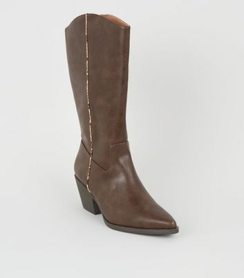 Brown Faux Snake Trim Western Calf Boots
