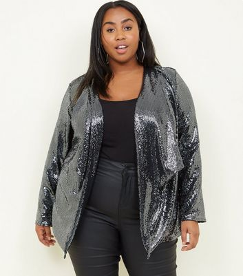 Curves Black Sequin Waterfall Jacket