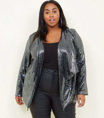 Curves Black Sequin Waterfall Jacket New Look