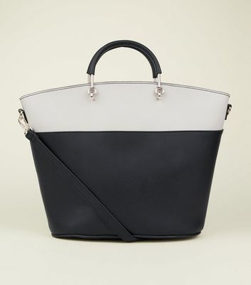 Black Colour Block Metal Handle Tote Bag