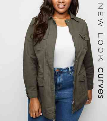 Curves Khaki Utility Shacket