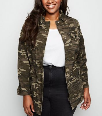 Curves Green Camo Print Utility Shacket