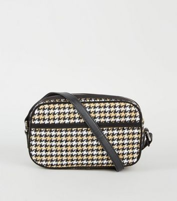 Brown Woven Houndstooth Camera Bag