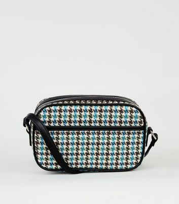 Blue Woven Houndstooth Camera Bag