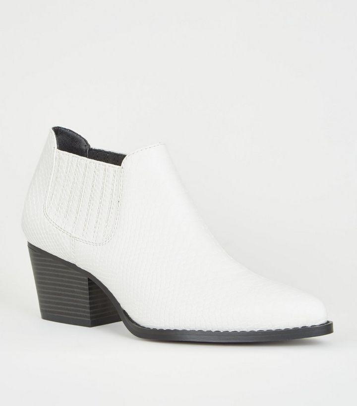fc2ec32cd30a White Faux Snake Low Cut Western Boots