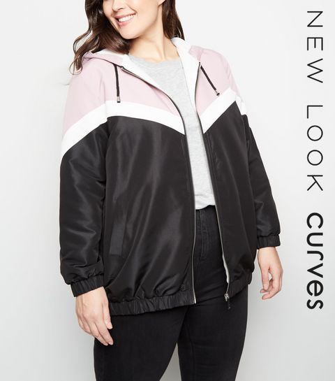b99ed376aef ... Curves Pink Block Fleece-Lined Windbreaker ...