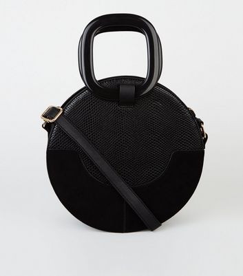 Black Faux Croc and Suedette Cross Body Bag