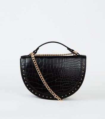 Black Faux Croc Studded Semi Circle Bag