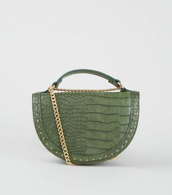 Khaki Faux Croc Studded Semi Circle Bag