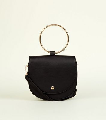 Black Ring Curved Cross Body Bag
