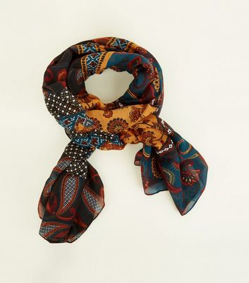 Rust Mixed Paisley and Floral Print Scarf