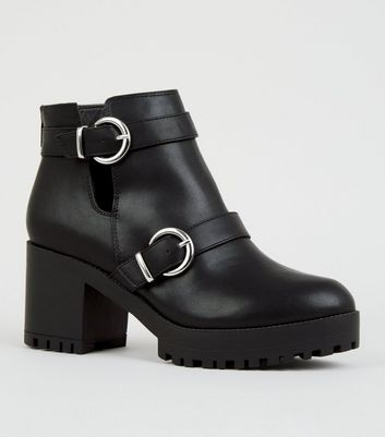 Black Cut Out Ring Strap Chunky Ankle Boots